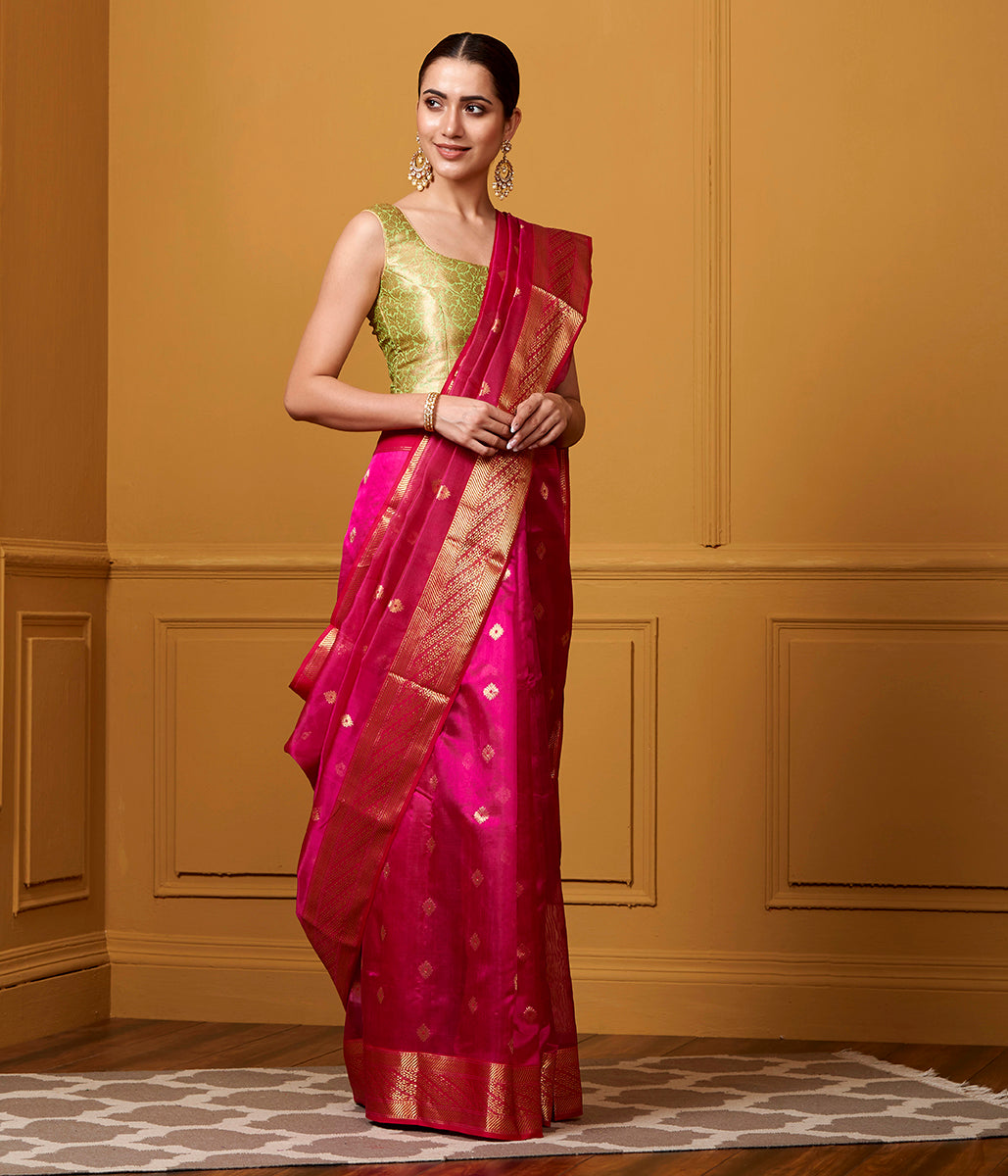Handwoven Pink Silk Saree With Gold Border And Diamond Motif