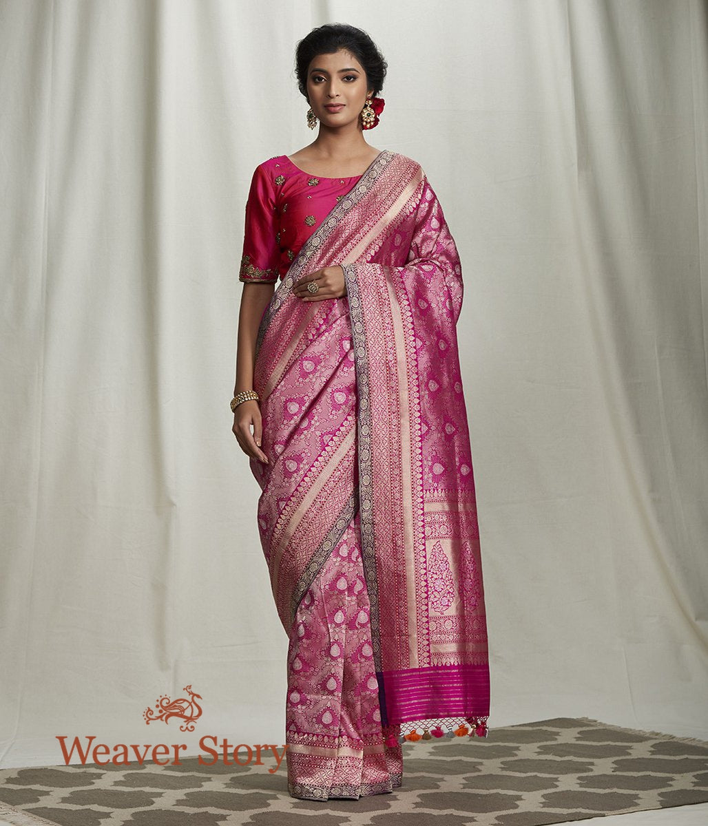 Handwoven Pink Zari Kimkhab Saree with Meenakari Border