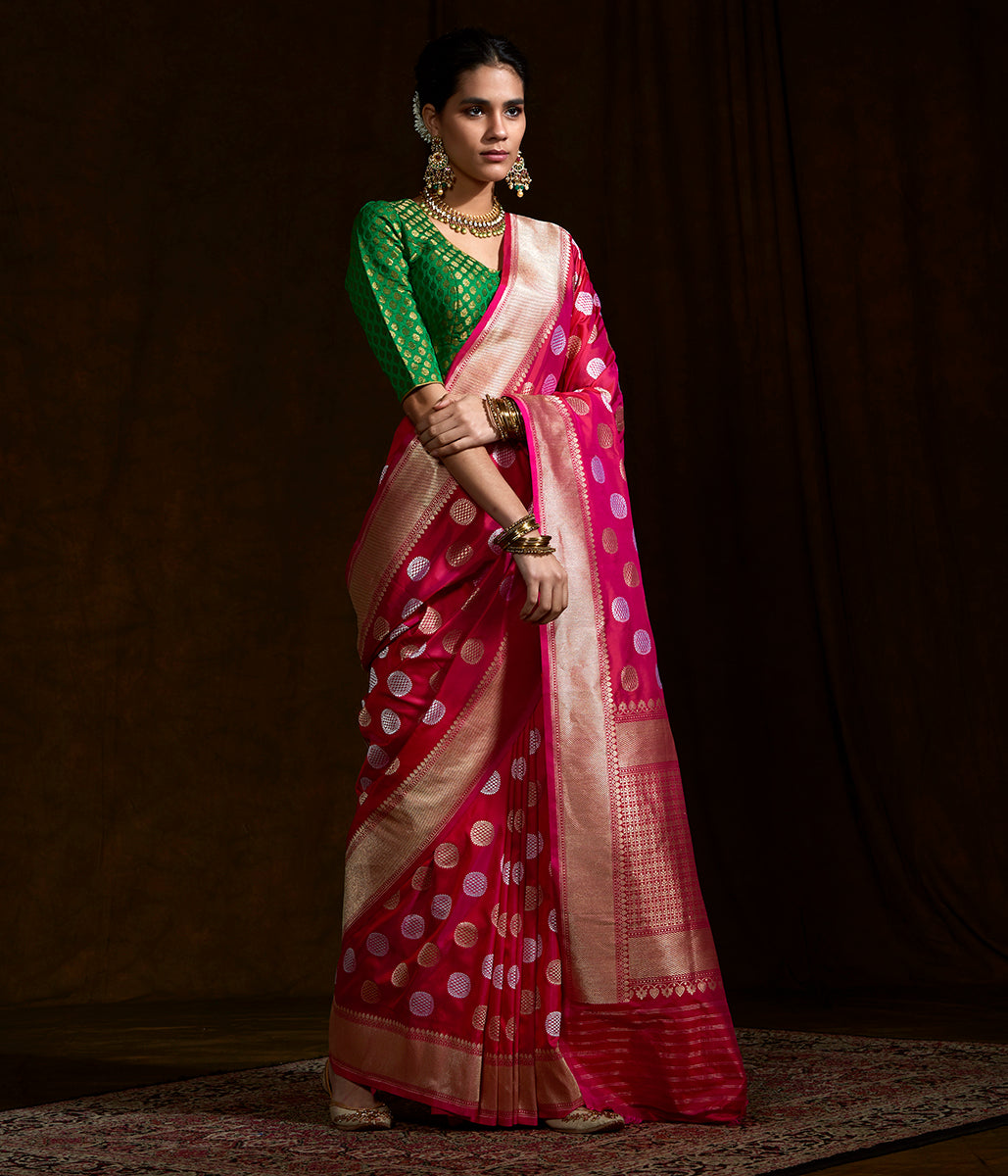 Pink and red dual tone saree with asharfi boota