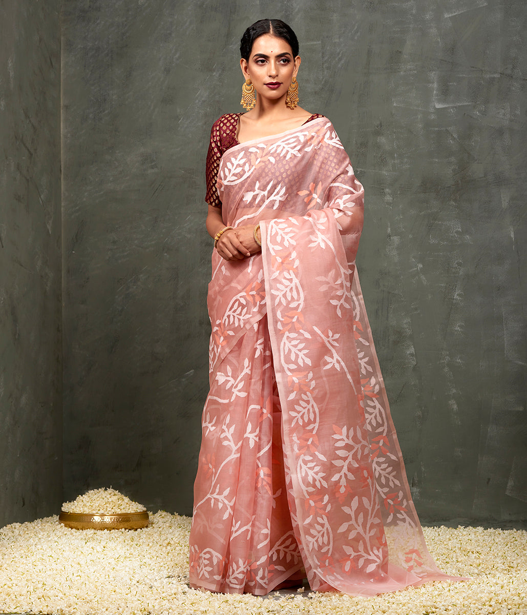 Handwoven Peach Muslin Dhakai Jamdani Saree with White and Peach Thread Work
