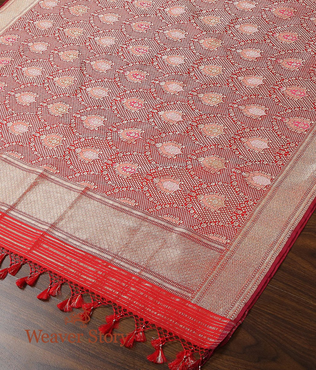 Handwoven Red Kimkhab Dupatta with Meenkaari