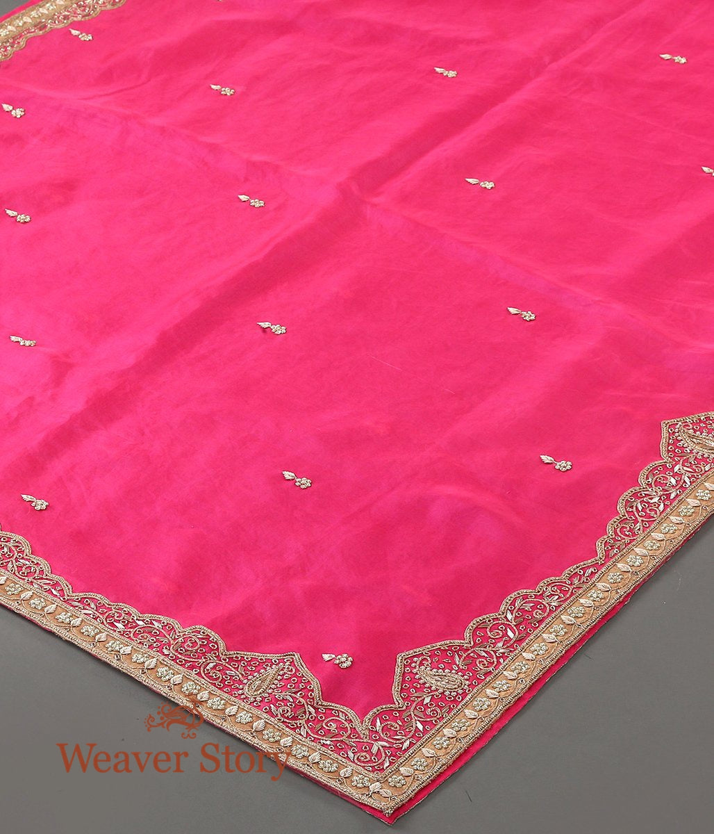Hot Pink Zardozi Work Dupatta with Mughal Border