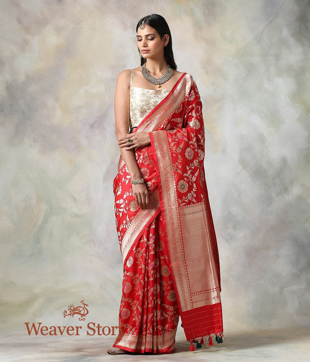 Handwoven Red Cutwork Meenakari Jangla Saree