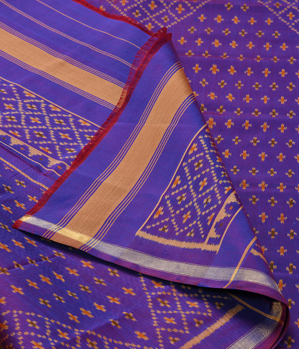 Handwoven Single Ikat Patola Dupatta in Purple