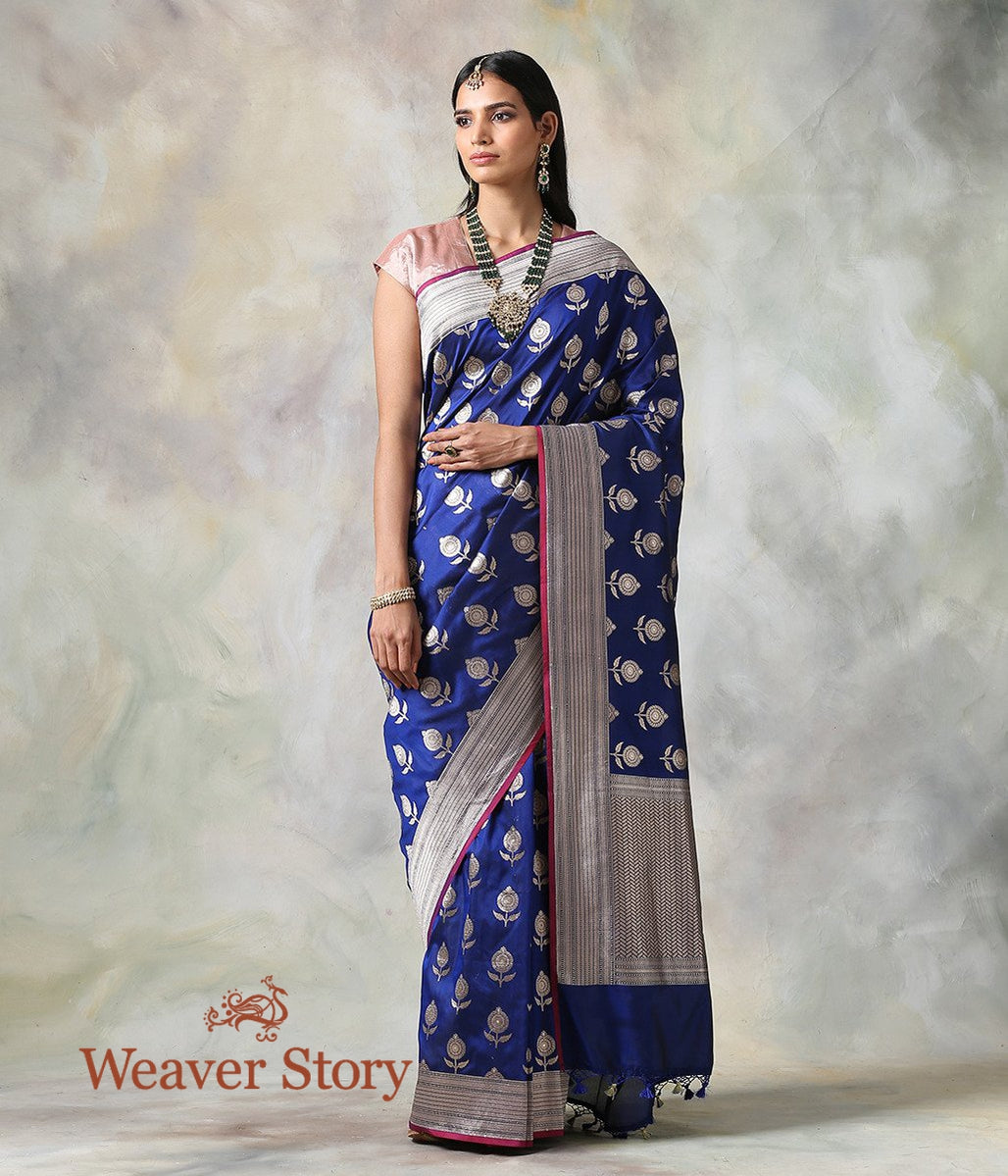 Handwoven Blue Katan Silk Saree with Floral Booti