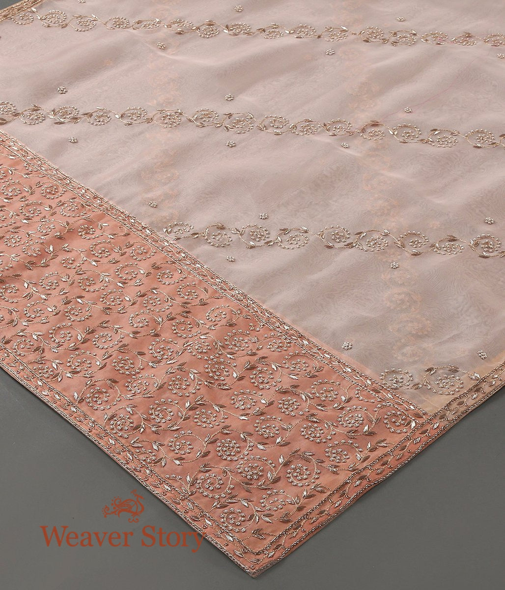 Peach Zardozi Work Dupatta with Paisleys on Pallu