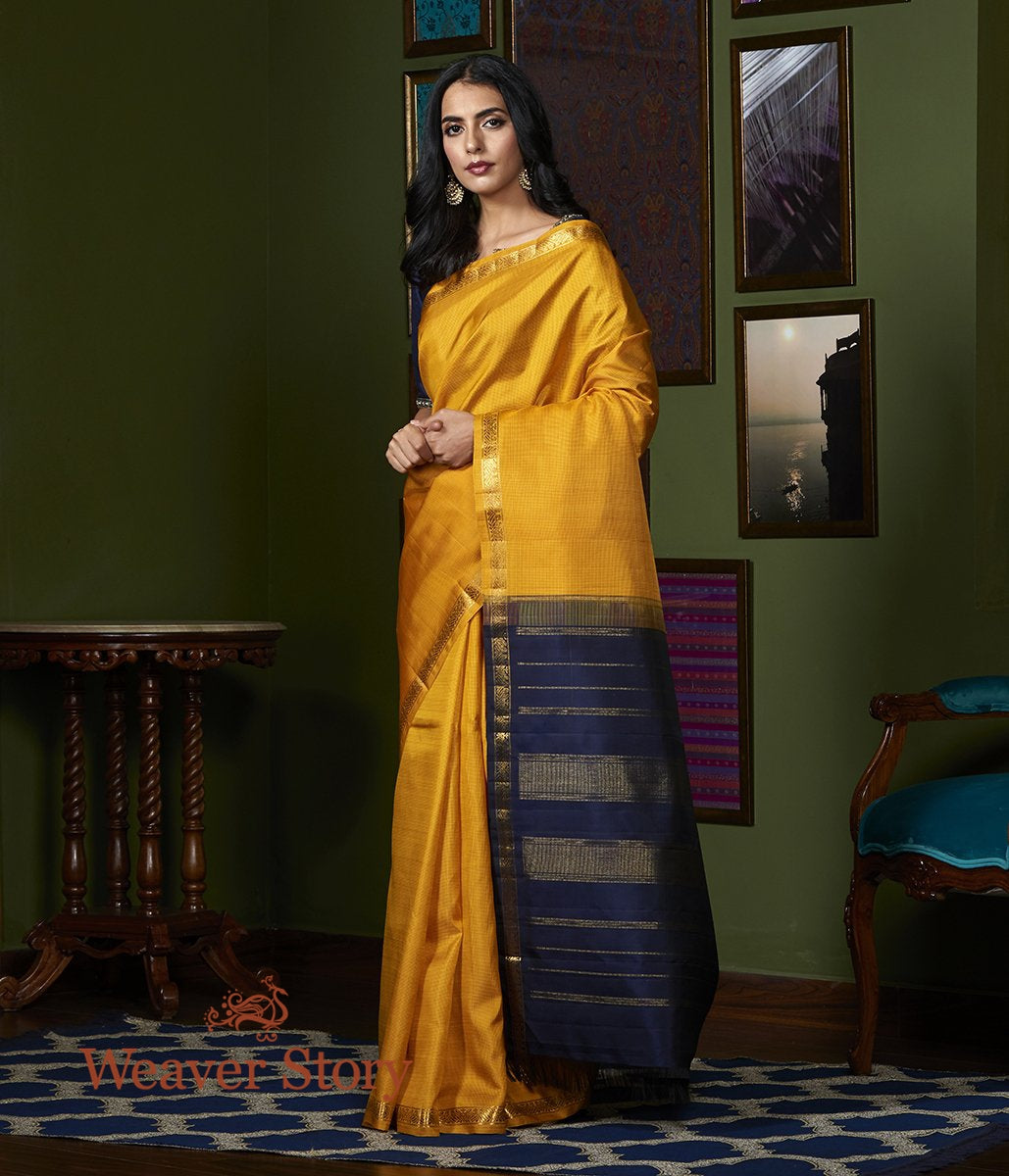Handwoven Mustard Self Checks Kanjivaram Saree with Navy Blue Palla