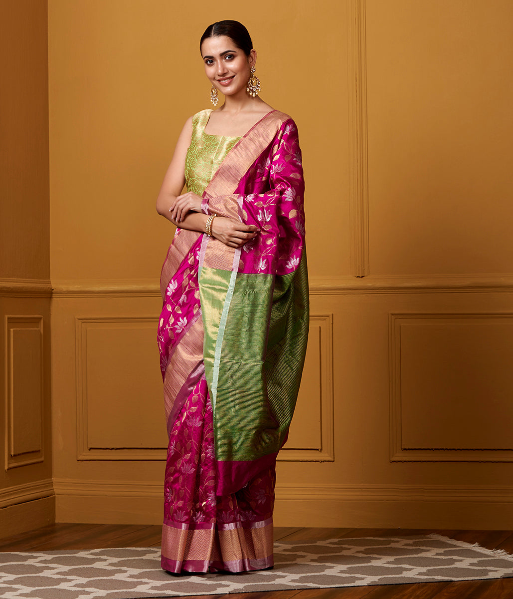Handwoven Purple and Green Chanderi Silk saree with floral weave