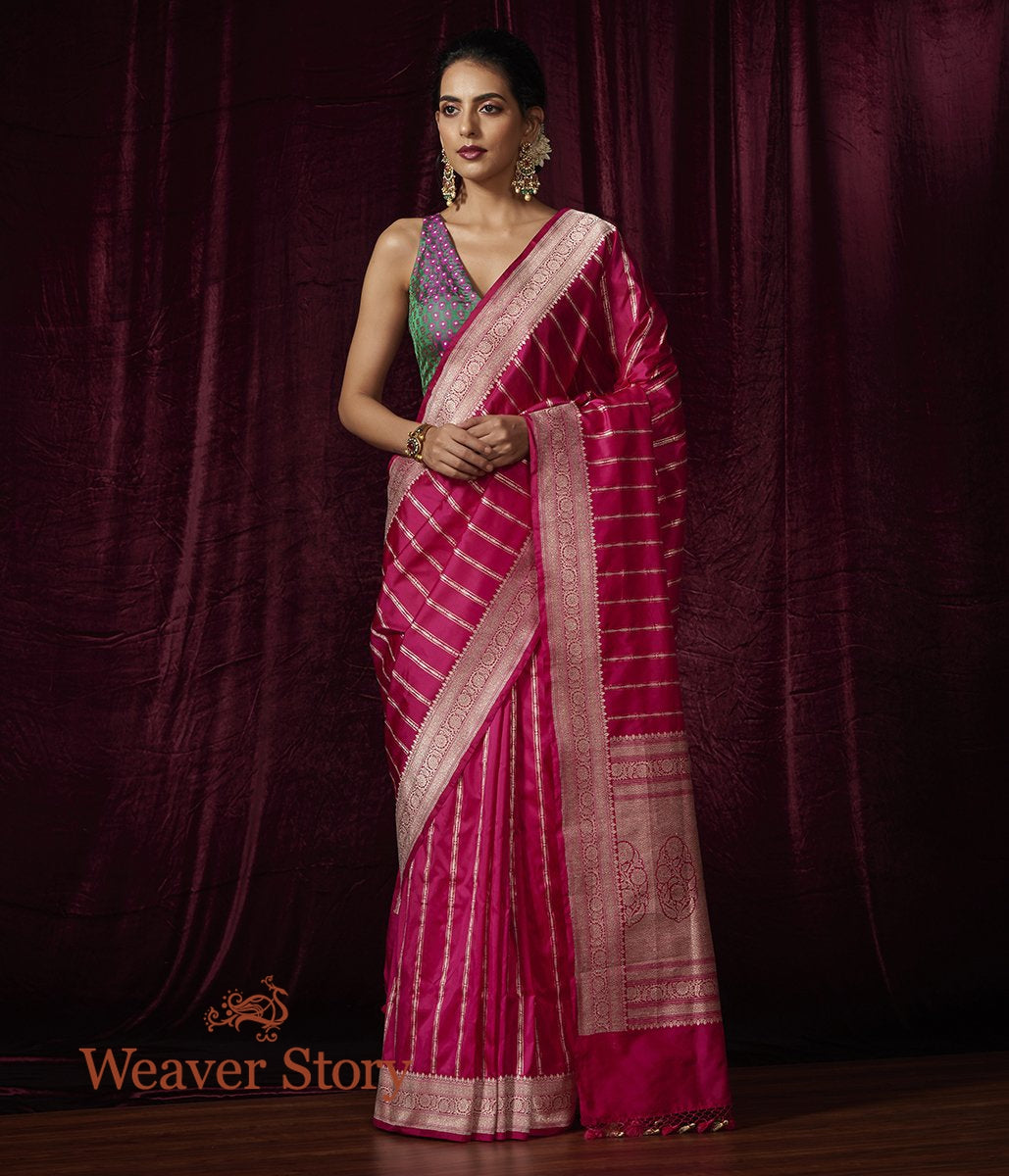 Handwoven Pink Katan Silk Saree with Zari Stripes