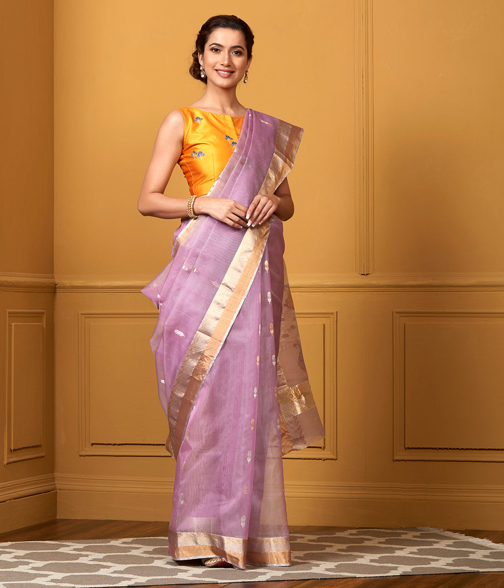 Handwoven Mauve Kora Saree with Gold Silver Zari Boota