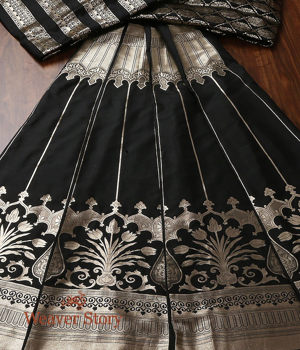 Handwoven Banarasi Kalidar Lehenga in Black with Gold Zari