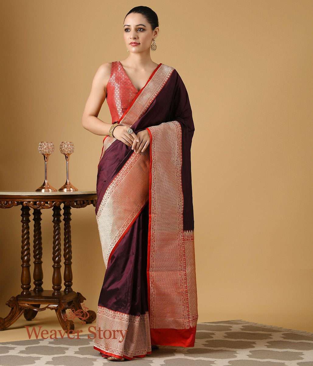Handwoven Wine Plain Banarasi Silk Saree with Red Kadhiyal Border