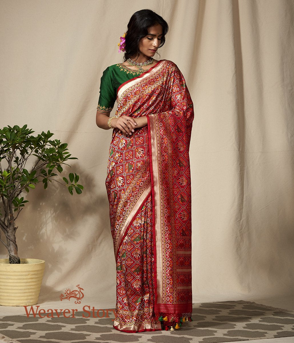 Handwoven Red Meenakari Banarasi Patola Saree with Paithani Border and Pallu
