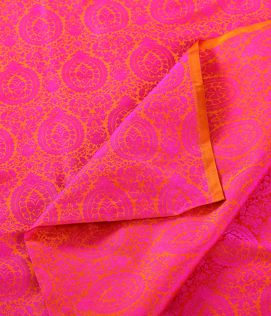 Handwoven Pink and Orange Self Weave Tanchoi Fabric