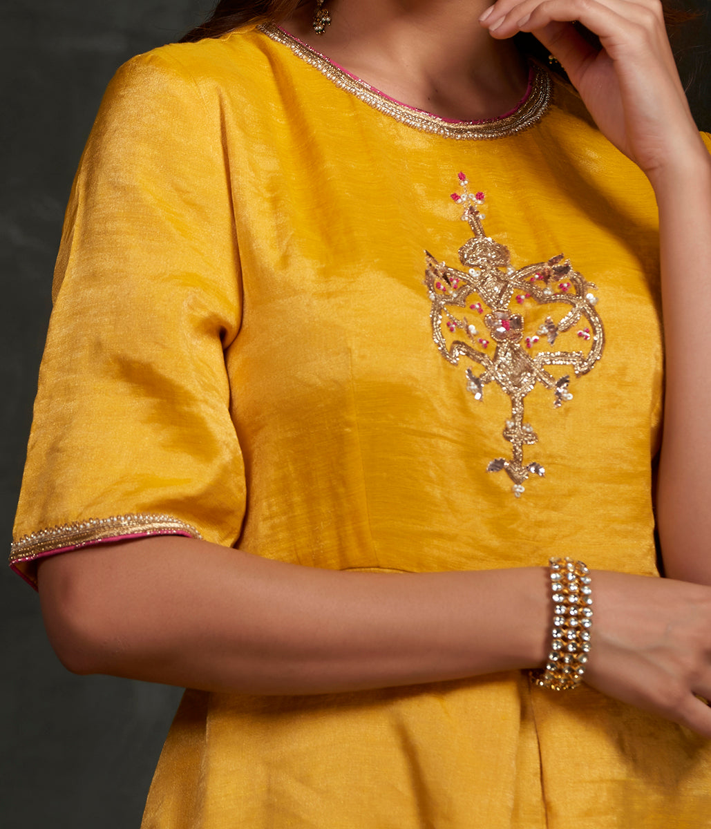 Hand embroidered munga silk suit in mustard color with brocade palazzo