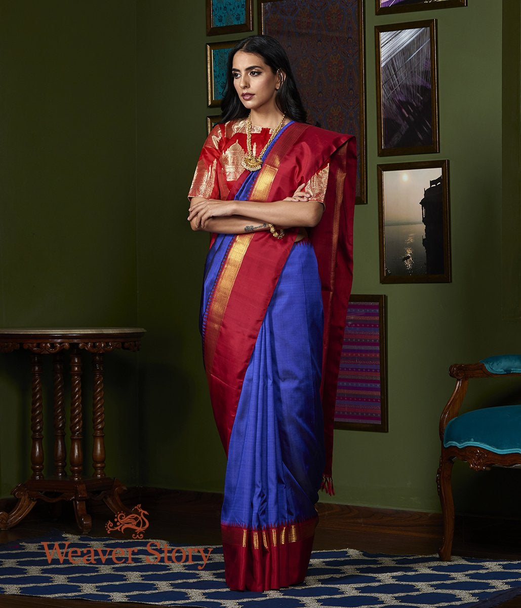 Handwoven Blue and Black Dual Tone Kanjivaram Silk Saree with Red Border