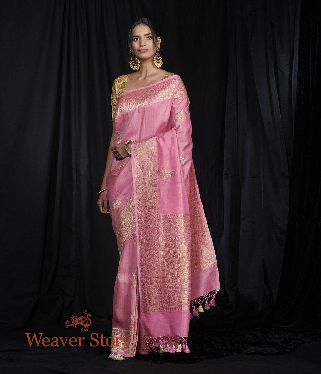 Handwoven Pink Tusser Georgette Saree with Kadhwa Booti