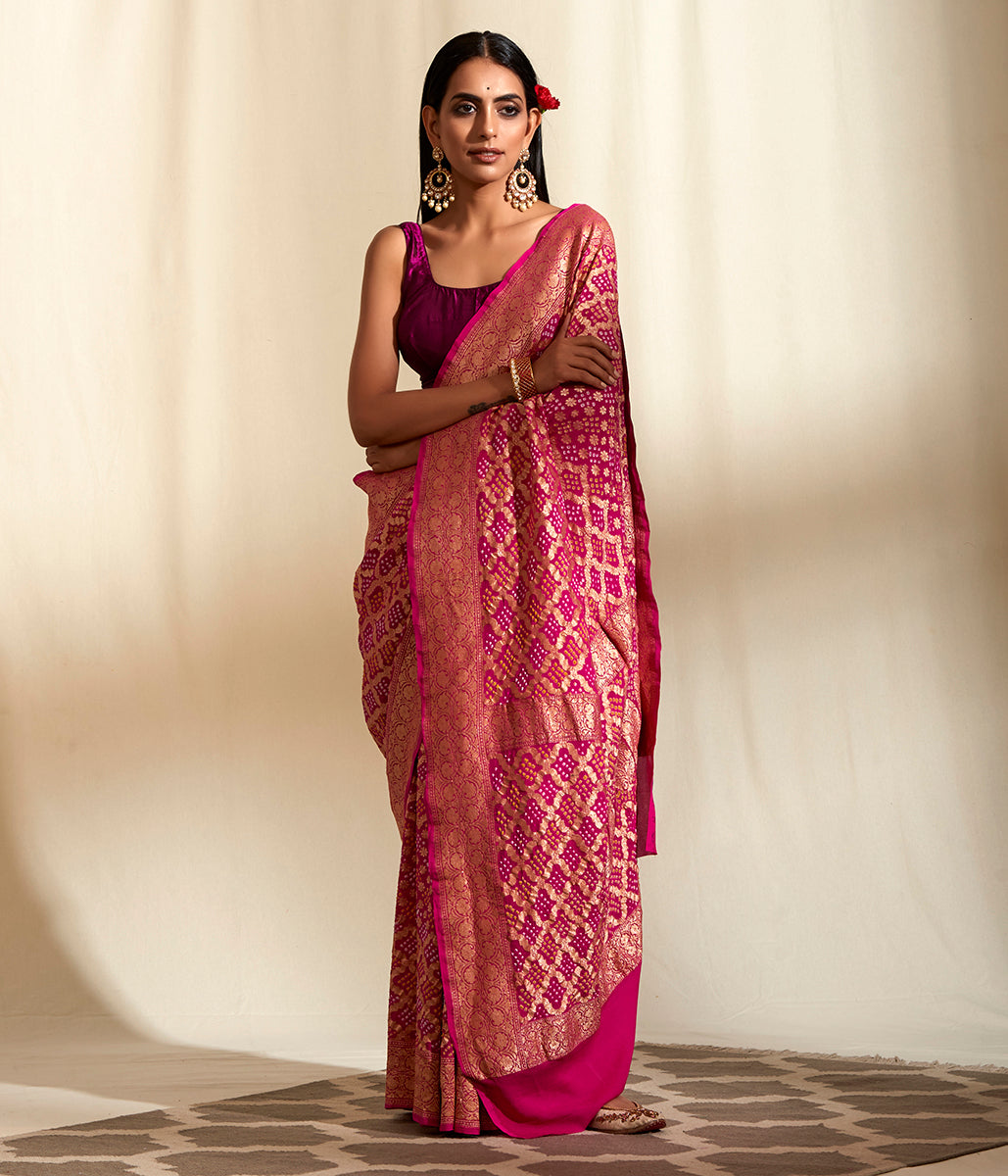 Handwoven Banarasi Bandhej Double Zari Saree in Dark Pink
