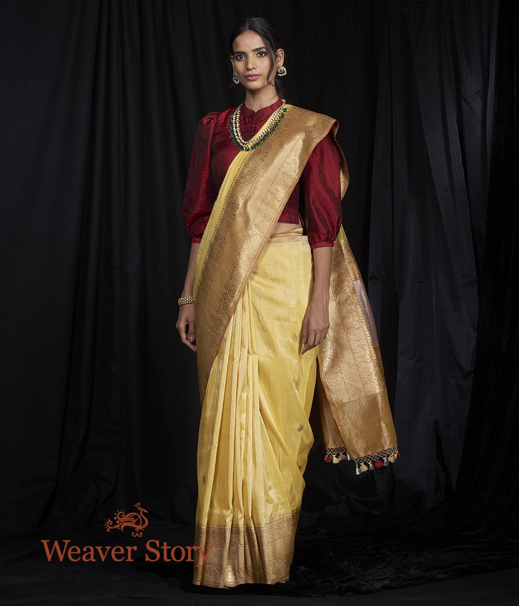 Handwoven Lemon Kadhwa Booti Saree woven in Silk Tissue