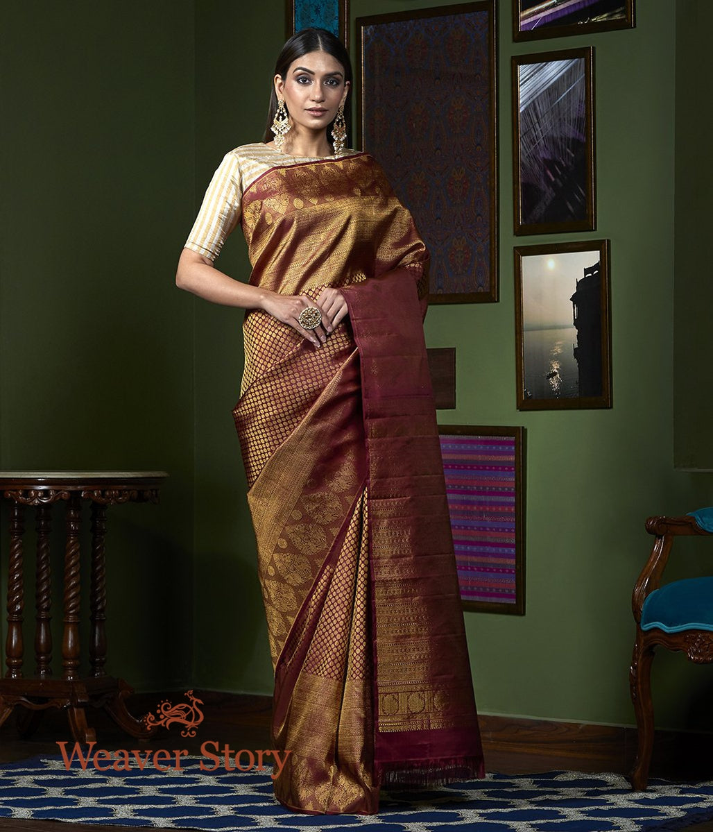 Handwoven Maroon All Over Zari Kanjivaram Saree
