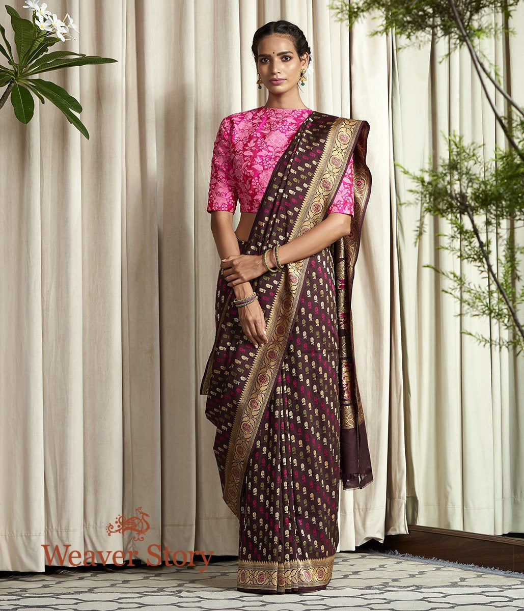 Handwoven Brown Hand Spun Cotton Silk Baluchari Saree with Small Booti