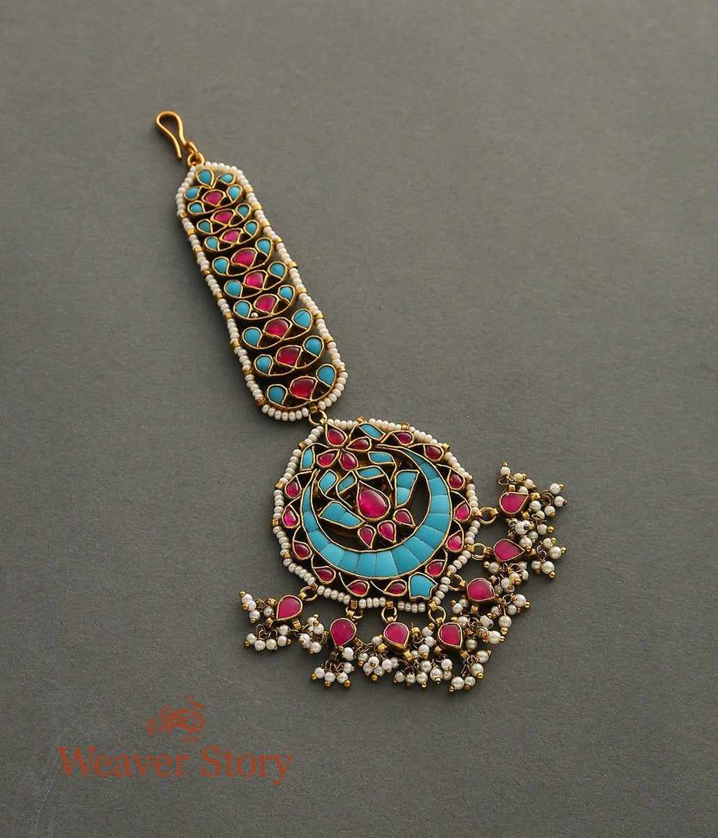 Turquoise and Ruby Tikka with Pearls