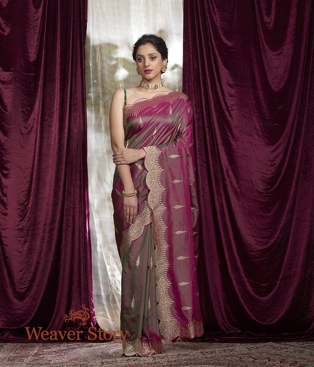 Handwoven Pink and Green Dual Tone Saree with Scalloped Borders