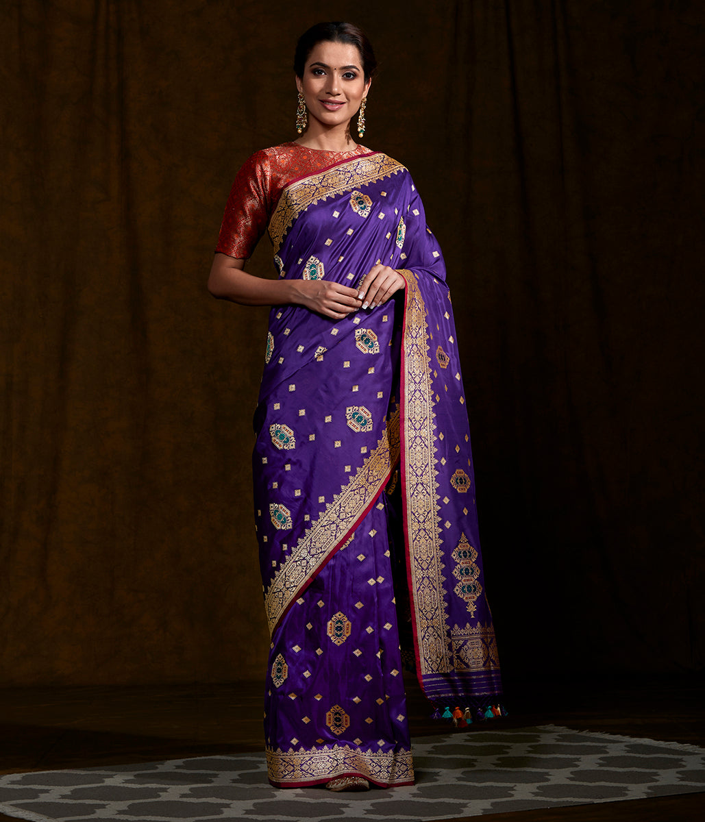 Handwoven katan silk saree with mughal inspired motifs