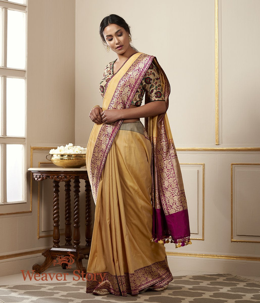 Handwoven Mustard Banarasi Tusser Silk Saree with Deep Wine Border and Pallu