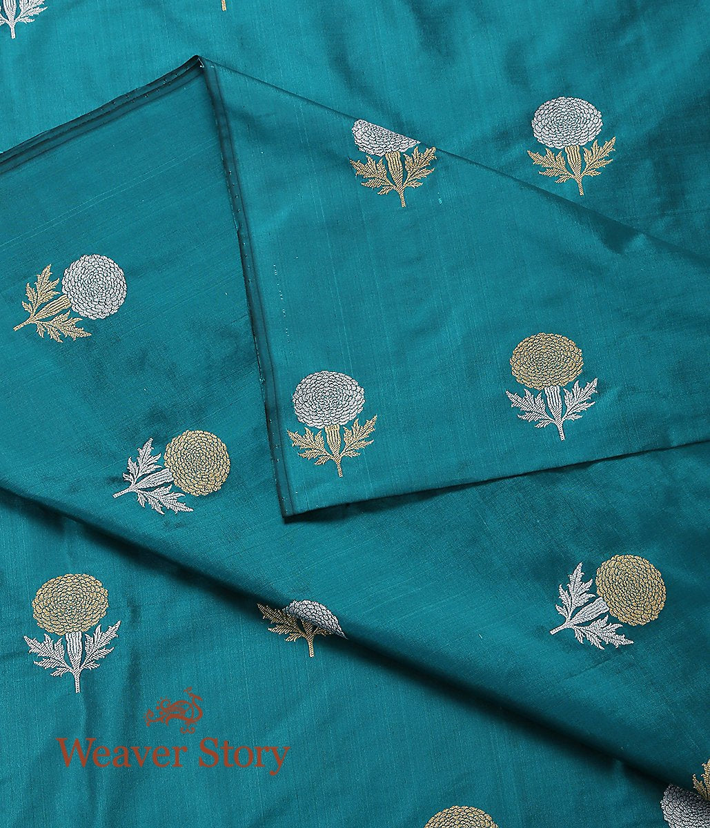 Handwoven Teal Green Guldaudi Booti Fabric
