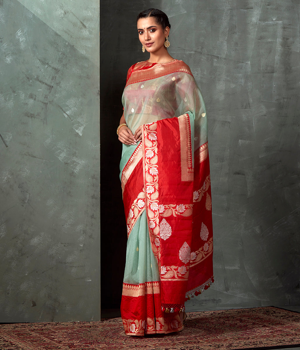 Handwoven Light Blue  Color Kora Saree with Red Border
