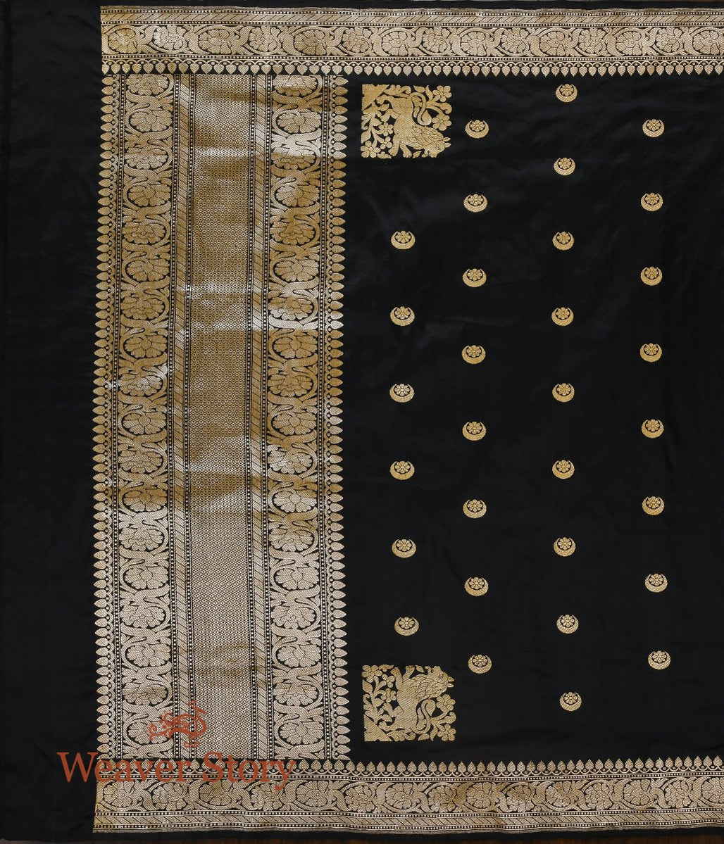 Handwoven Black Chand Boota Dupatta