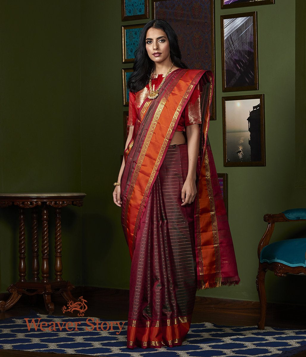 Handwoven Green and Red Dual Tone Kanjivaram Silk Saree with Orange and Red Border