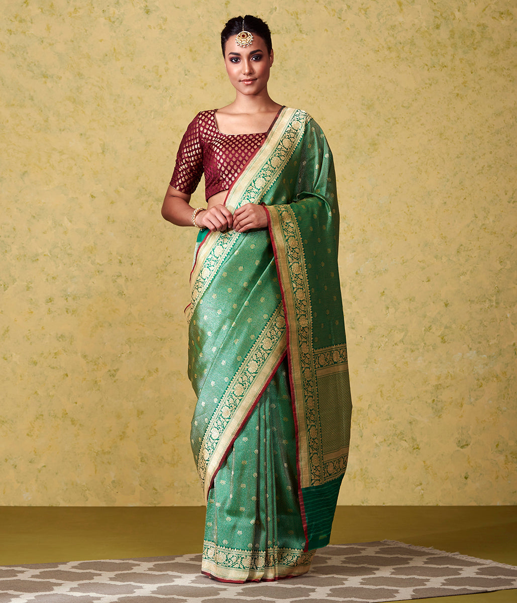 Handwoven Green Kimkhab Saree with Red Selvedge