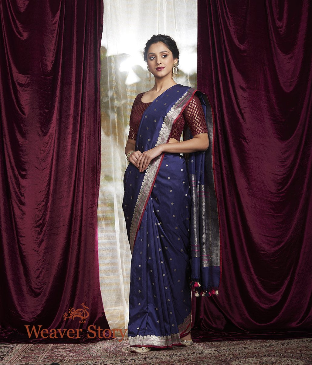 Handwoven Blue Kadhwa Boota Saree with a Small Border