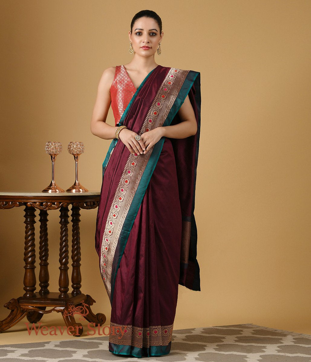 Handwoven Wine Silk Saree with Teal and Gold Border