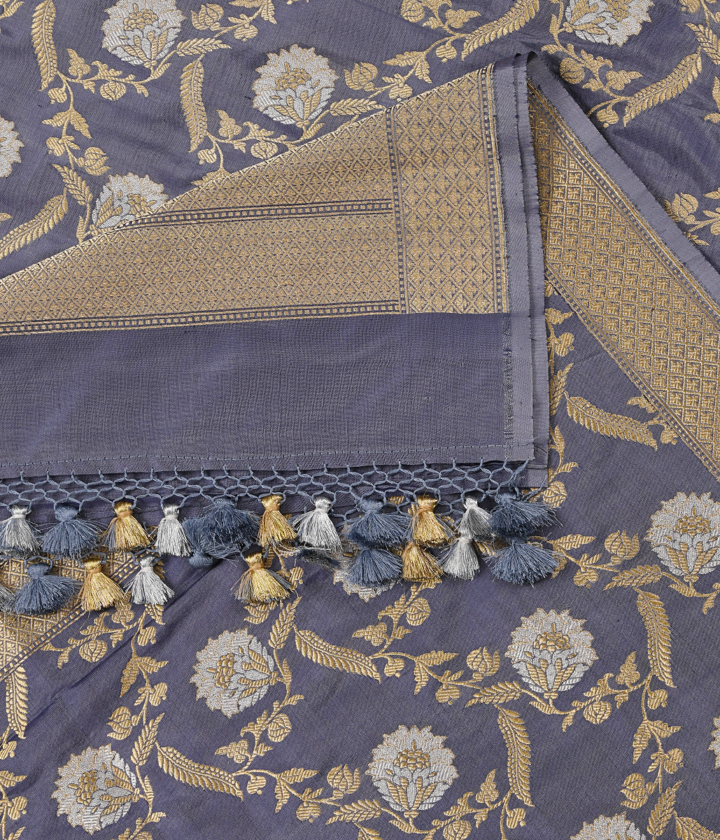 Handwoven Grey Katan Silk Dupatta in Kadhwa Weave