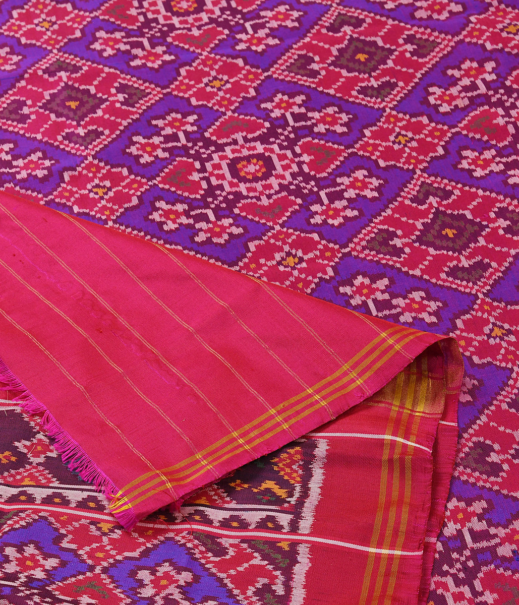Handwoven Purple and Pink dual colorPatola Dupatta