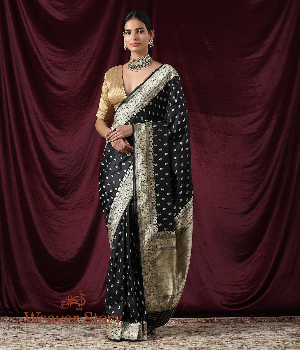 Handwoven Black Katan Silk Saree with Gold Zari Booti and Beldaar Border