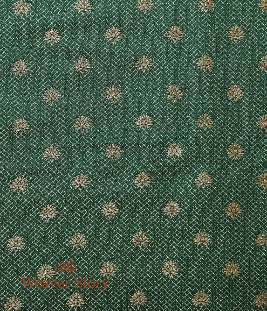 Handwoven Green Banarasi Tanchoi Fabric with Border
