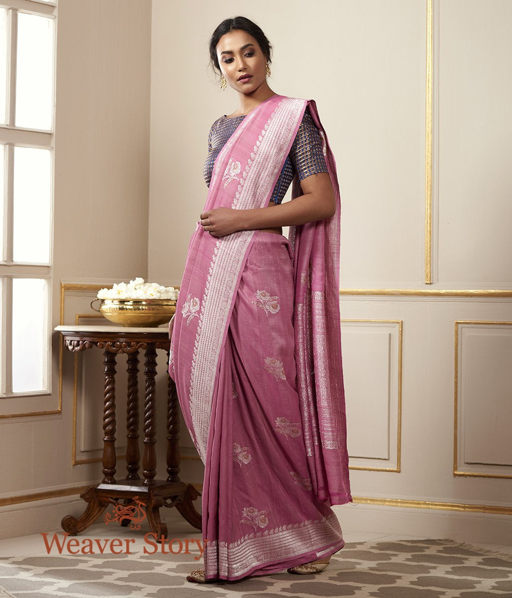 Handwoven Pink Tusser Georgette Saree with Silver Zari