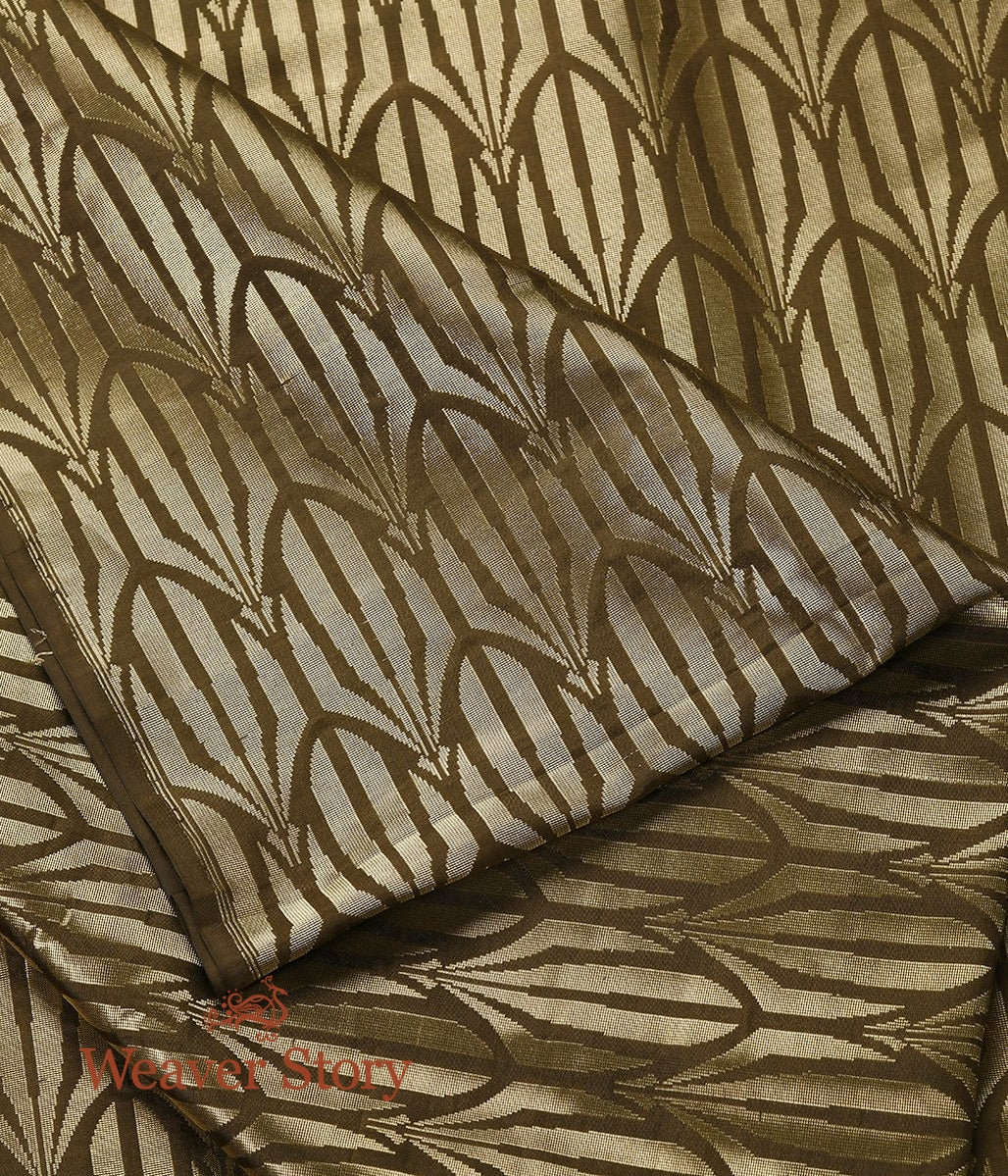 Handwoven Brown and Gold Banarasi Tissue Fabric