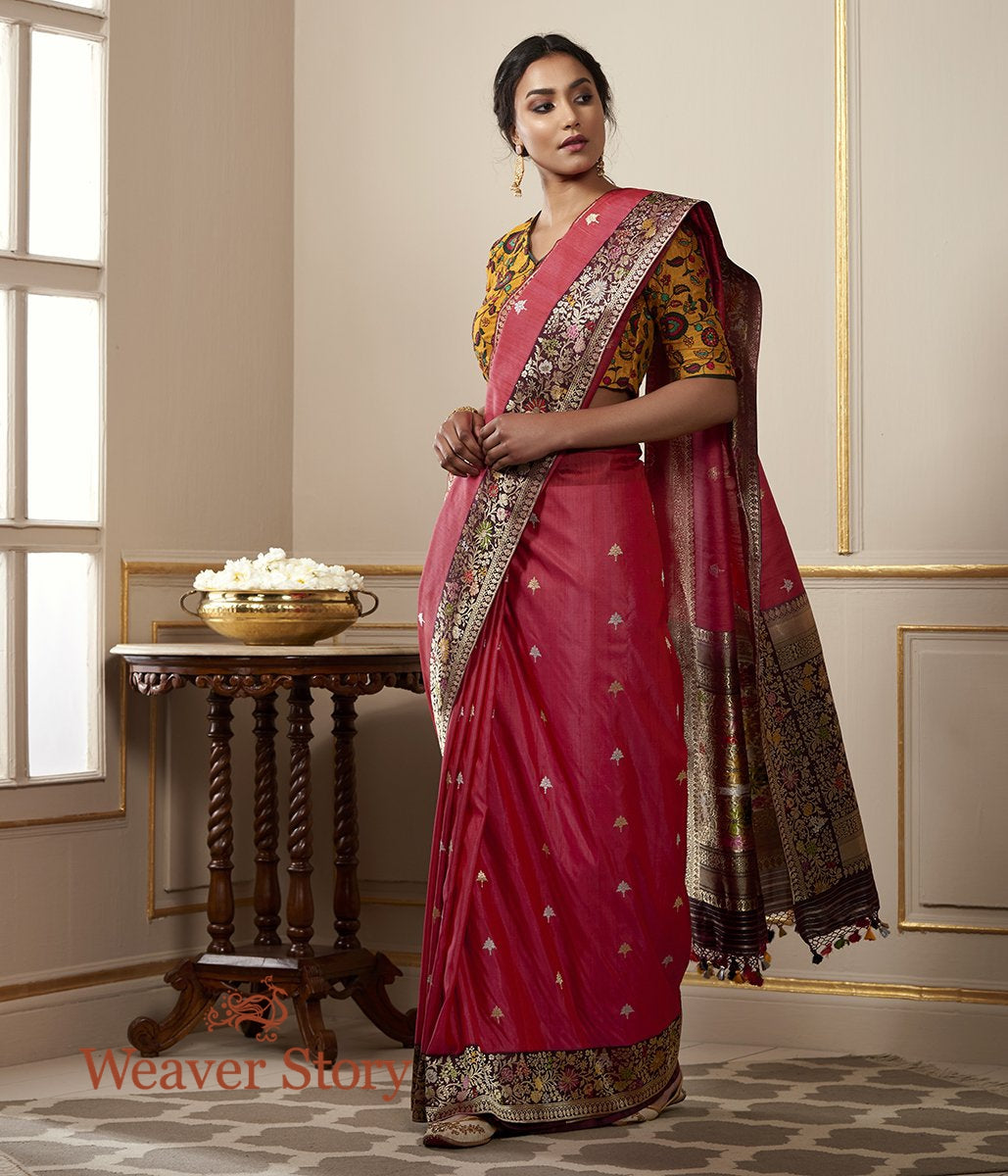 Handwoven Coral Red Tusser Saree with Kadhiyal Border