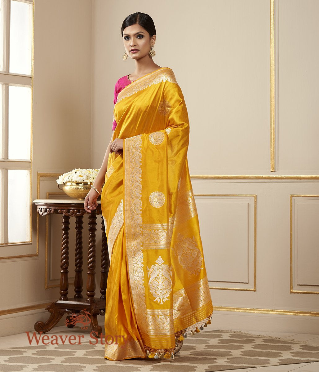 Handwoven Mustard Yellow Banarasi Katan Silk Saree with Kadhwa Booti