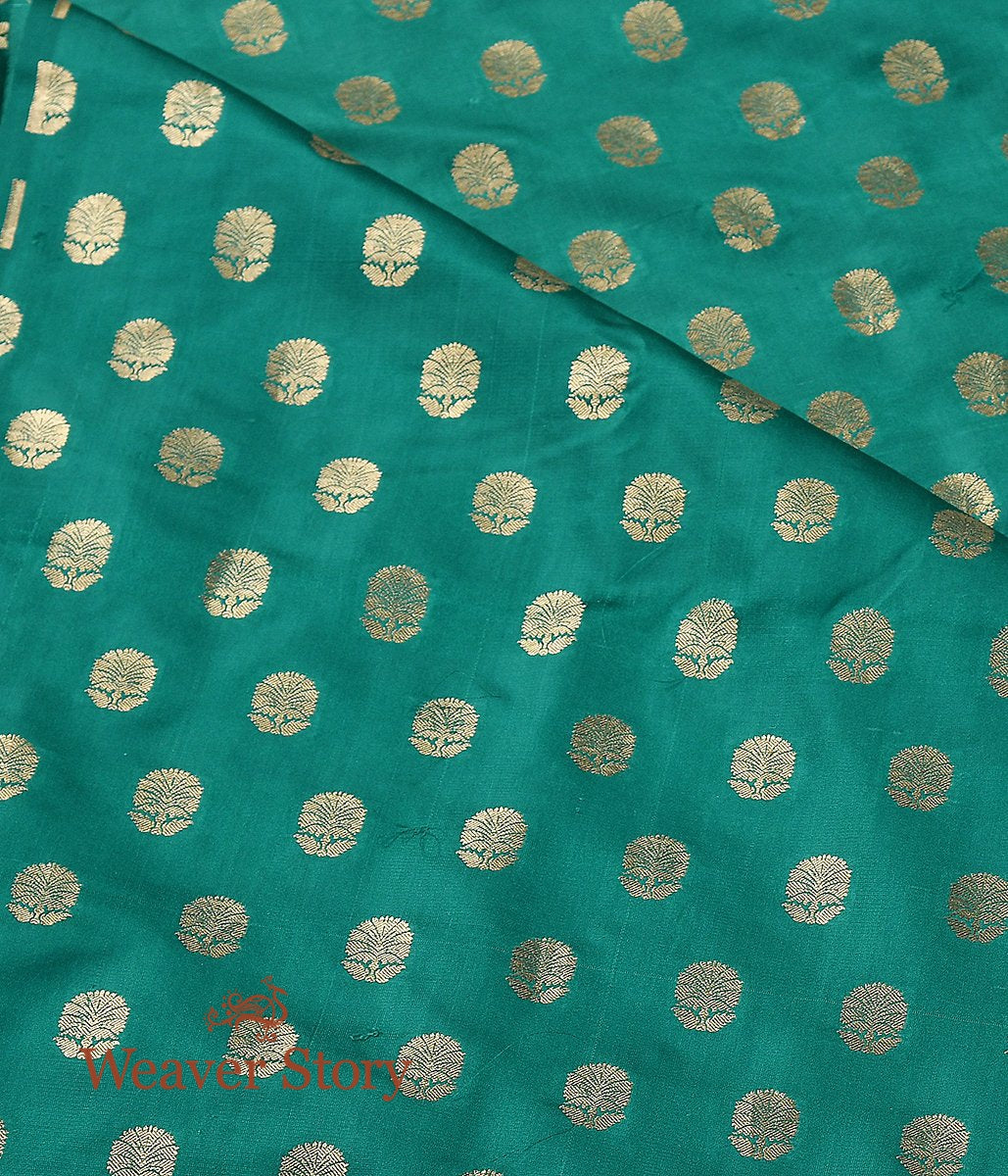 Handwoven Green Cutwork Booti Satin Fabric