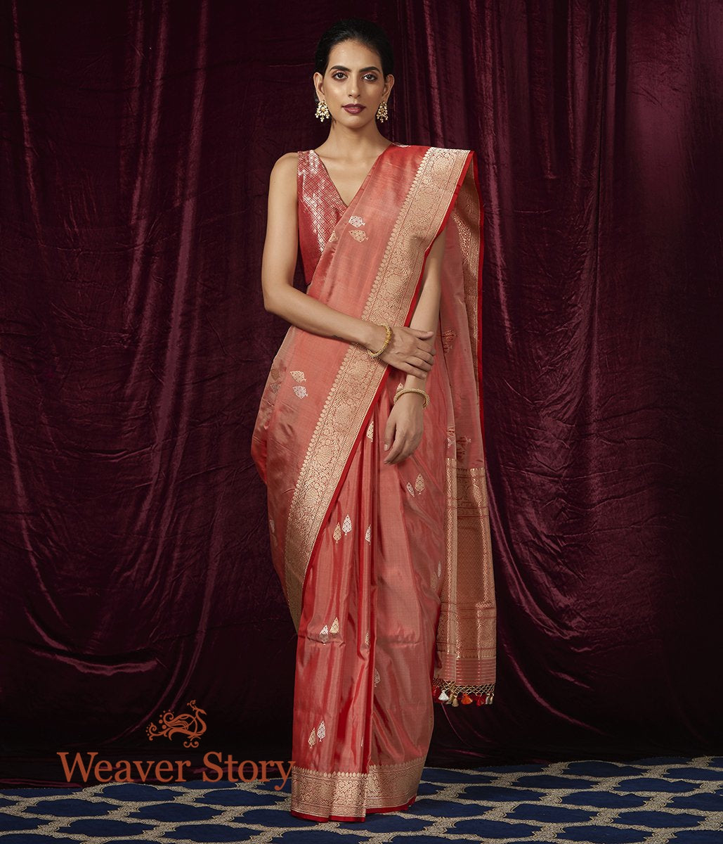 Handwoven Beige and Red Dual Tone Kadhwa Booti Saree