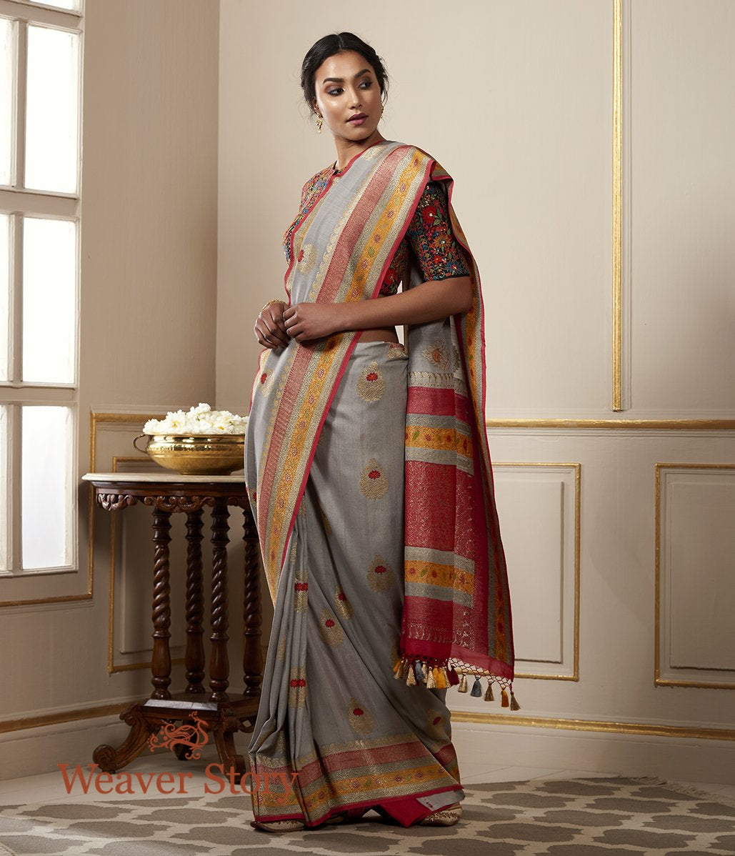 Handwoven Tusser Georgette saree in Grey with Contrast Boder