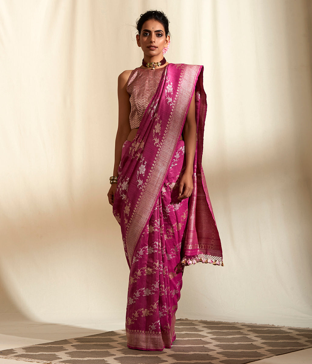Handwoven berry colored tusser georgette jangla
