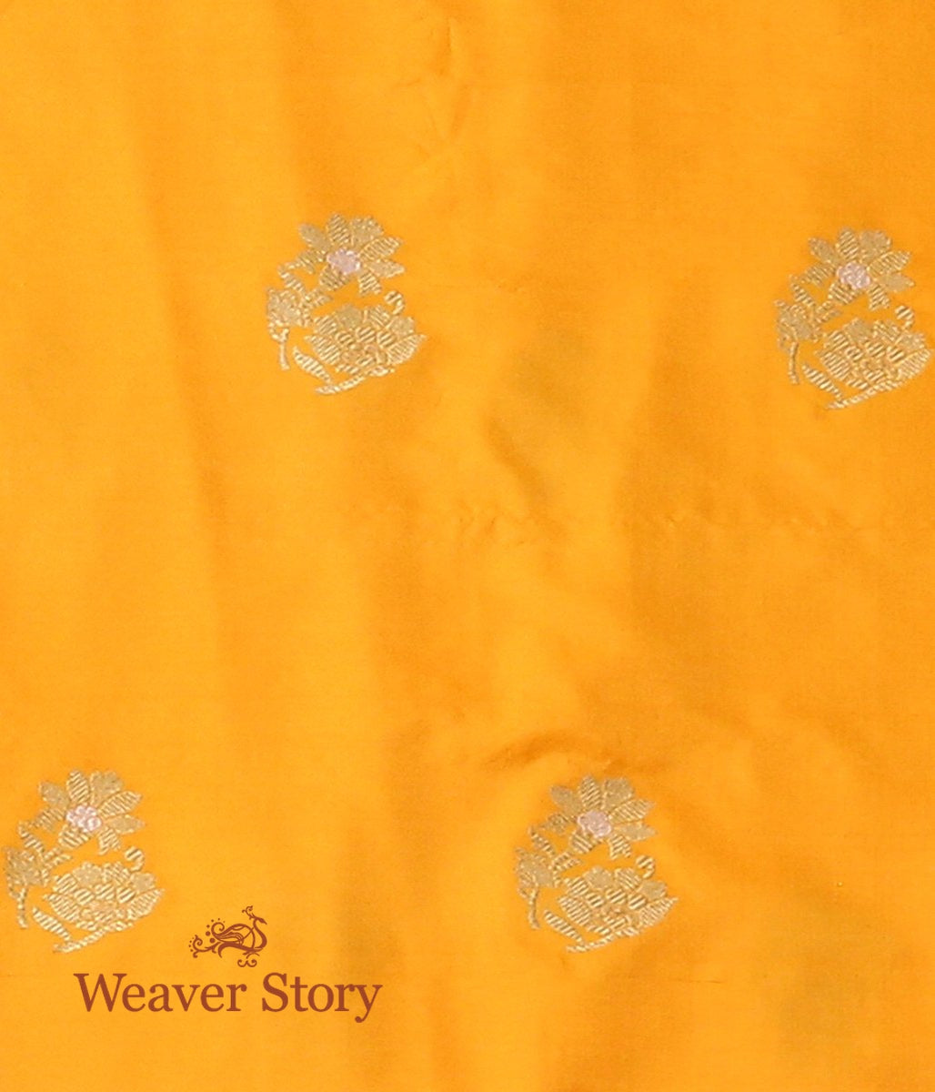 Handwoven Yellow Kadhwa Booti Fabric