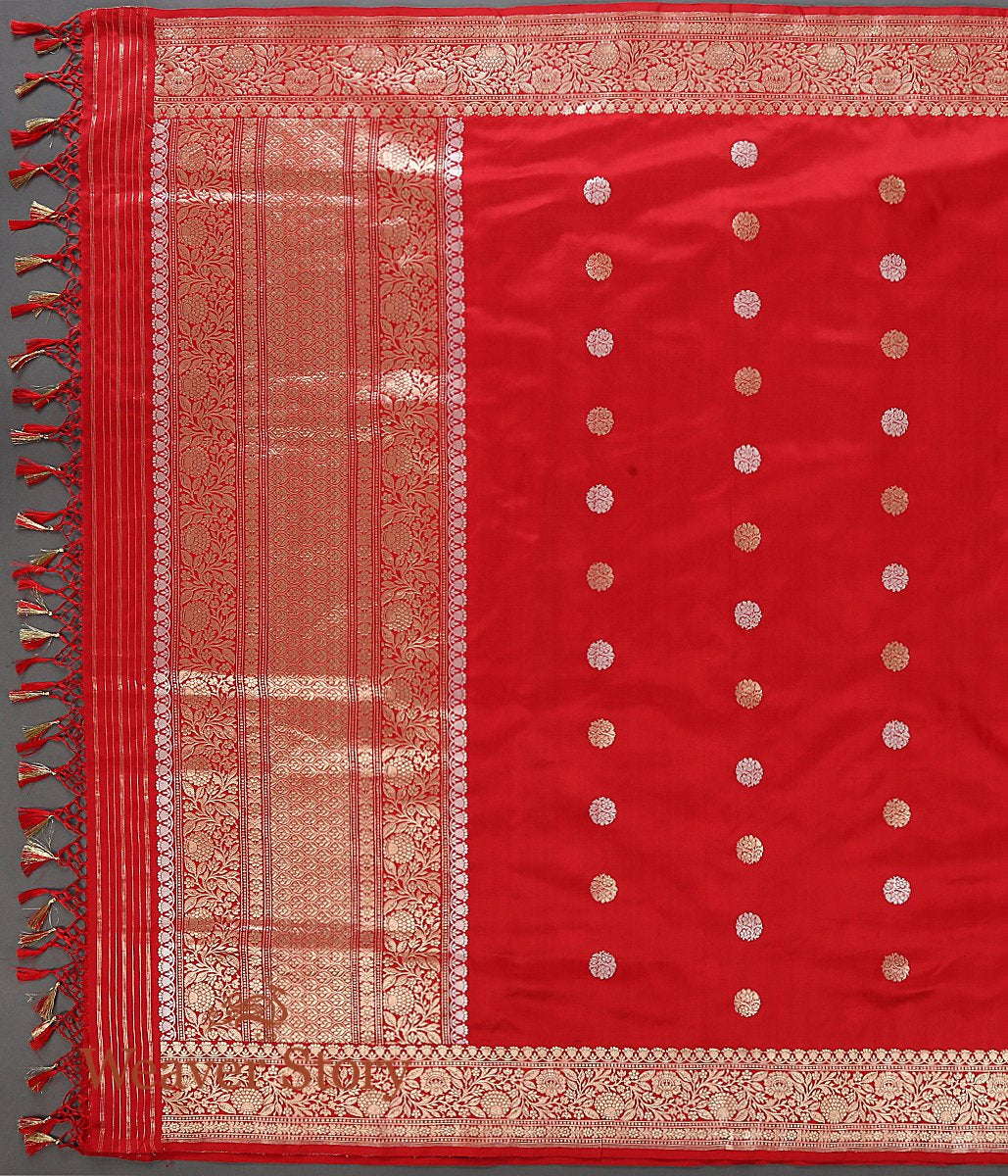 Handwoven Red Katan Silk Dupatta with Kadhwa Booti